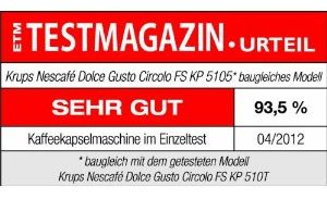 Dolce Gusto Maschine Krups KP 5105 Circolo FlowStop, Testresultat sehr gut