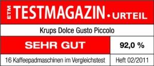 Dolce Gusto Maschine Krups KP1006 Piccolo Testresultat sehr gut